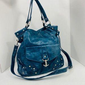 Vegan leather studded blue hobo bag